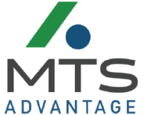 MTS Advantage logo. It contains a green chevron and blue globe.