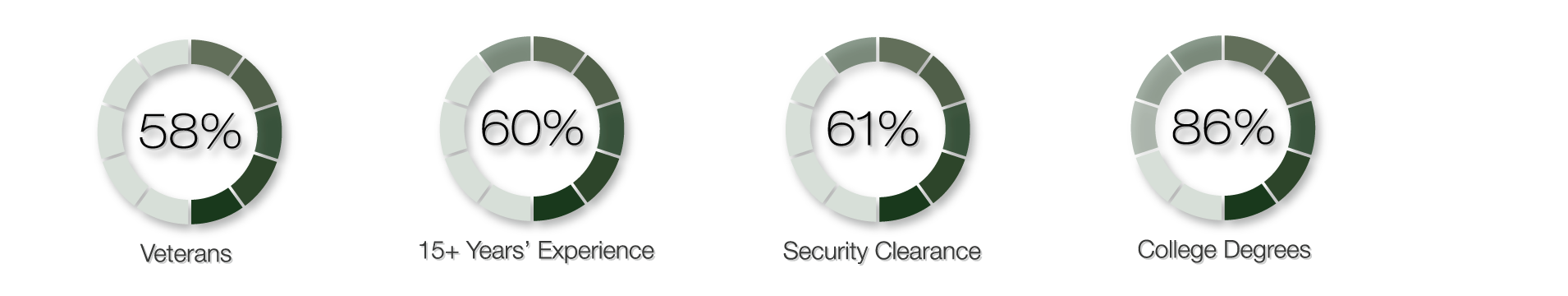 TIME Systems team comprises 58% Veterans, 60% with 15+ Years' Experience, 61% with a security clearance, 86% with college degrees. All of these are represented by green donut charts.