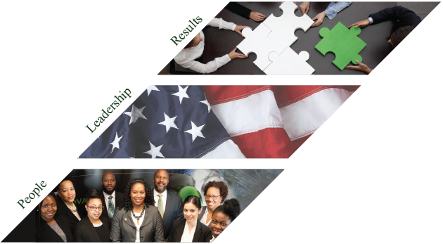 A chevron comprised of three smaller chevrons. The bottom one, labeled People, is an image of nine TIME team members. The middle one, labeled 'Leadership,' is the American flag. The top one, labeled 'Results', is an image of four sets of hands putting together four puzzle pieces, one of which is green.